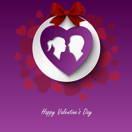 Valentine card with lovers and hearts in red purple design vector eps 10 Ilustração