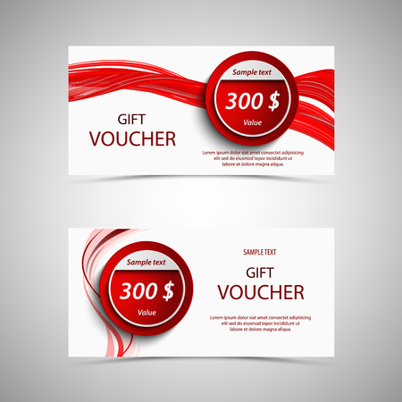 Gift voucher in red design with wavy lines and pointers vector eps 10