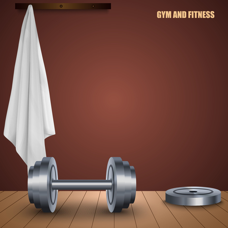 Gym and fitness design poster with dumbbell towel vector eps 10