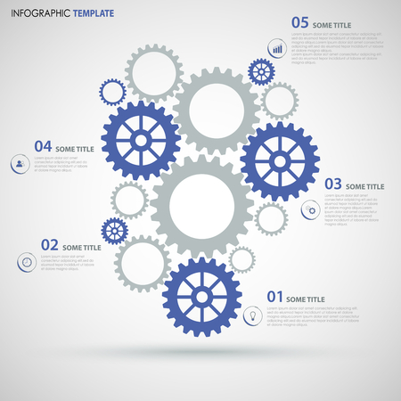 Info graphic with blue gray flat gear wheels design template vector eps 10