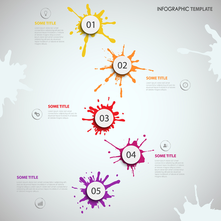 Info graphic with colored design blots stains template vector eps 10 Ilustração