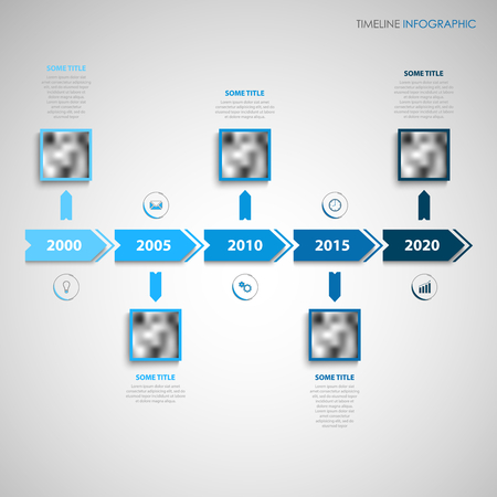 Time line info graphic with direction indicators in blue design vector eps 10