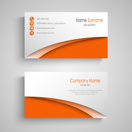 Business card with arches in orange white design template vector eps 10