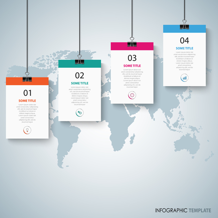 Info graphic with hanging banners and clips template vector eps 10