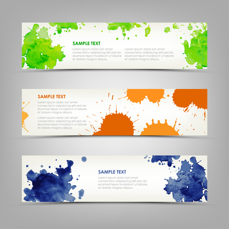 Collection abstract banners with colored blots and drops vector eps 10