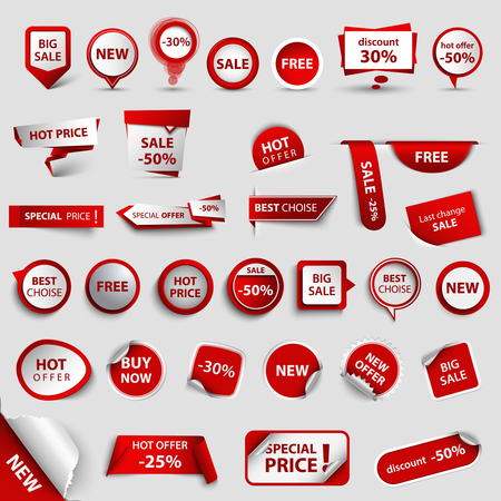 Collection of web pointers for shopping in red design vector eps 10