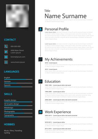 Professional creative personal resume cv in black white design vector eps 10 Vector Illustratie