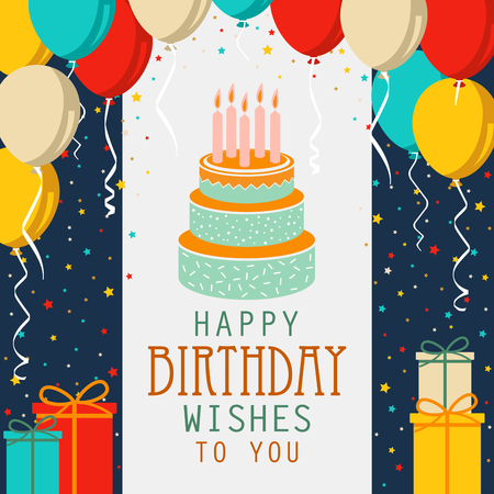 Birthday card with cake and colorful balloons in flat design vector eps 10