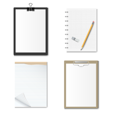 Collection clipboards with paper and notebooks design template vector eps 10
