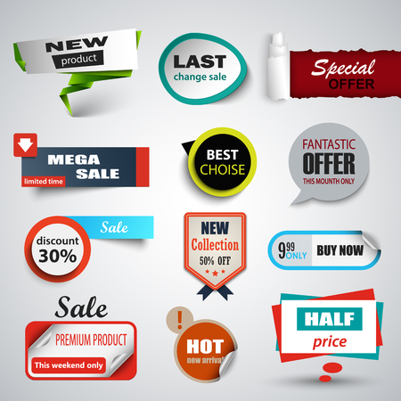 Collection sale pointers and labels design elements vector eps 10