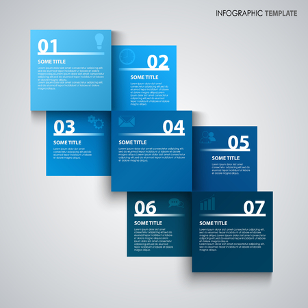 Info graphic with abstract squares in blue design vector eps 10 Illustration