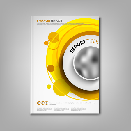 Brochures book or flyer with orange circular design pointers vector eps 10 Illustration