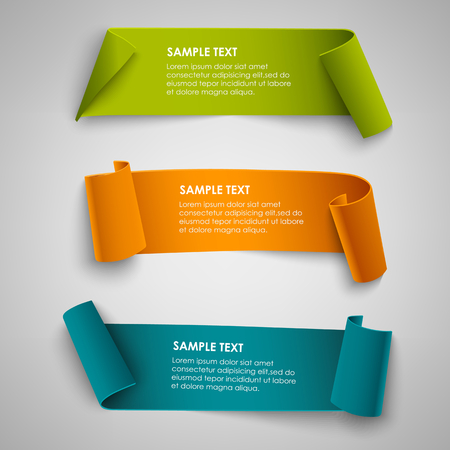 Collection curved colored papers abstract banners template vector eps 10