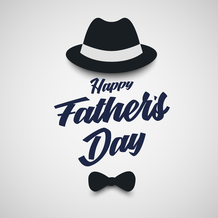 Fathers Day poster with hat and bowtie template vector eps 10