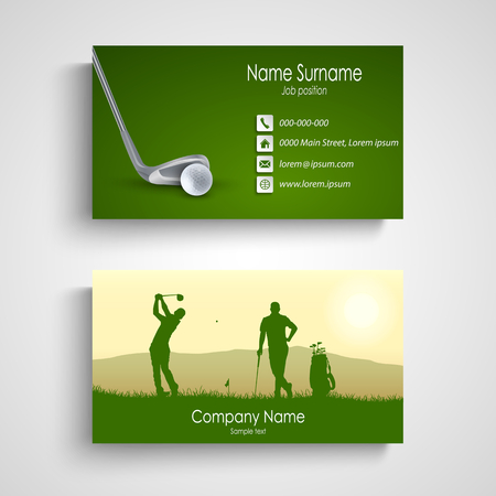 Business card with green golf design template vector eps 10