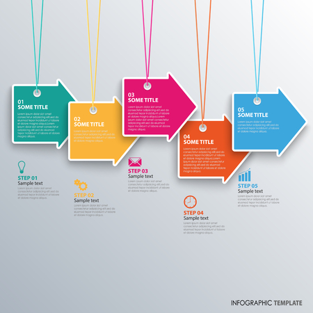 Info graphic with hanging colored design arrows template vector eps 10