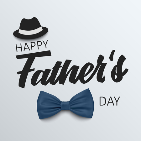 Fathers Day poster with bow tie and hat template vector eps 10 Illustration