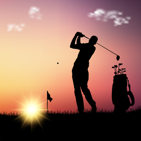 Silhouette of golfer with bag at sunset template vector eps 10 Illustration