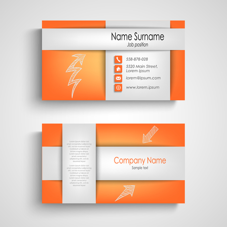 Business card with stripes design in orange template vector eps 10