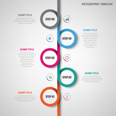 Info graphic with colored vertical rounds line template vector eps 10 Illustration