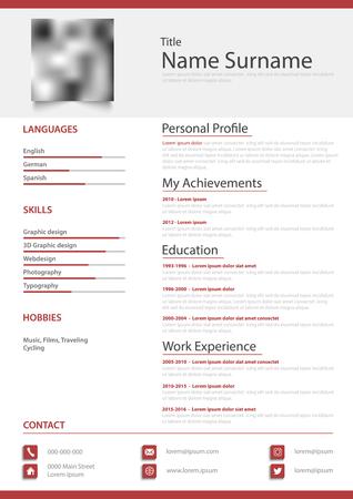 Professional personal resume cv in simple red white design vector eps 10 Vektorové ilustrace