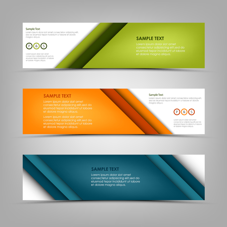 Collection banners with abstract colored diagonal stripes template vector eps 10