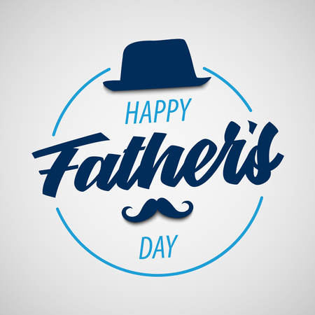 Fathers Day poster with hat and mustache in blue design vector eps 10