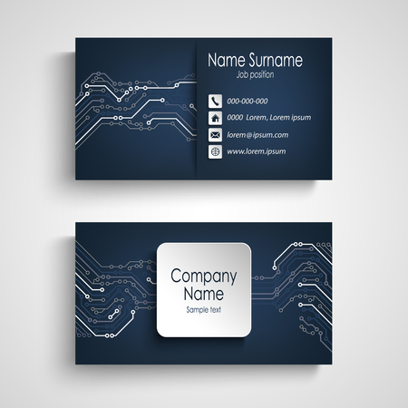 Business card with printed circuit board in blue design vector eps 10 Illustration