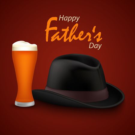 Fathers day poster with beer and black hat template vector eps 10