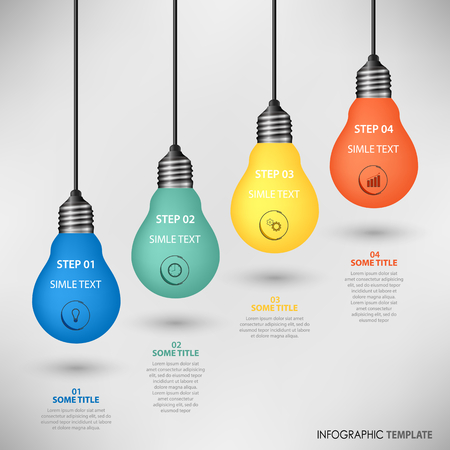 Info graphic with colorful hanging design bulbs template vector eps 10 Illustration