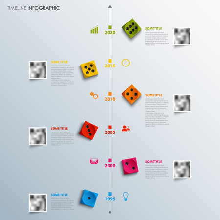 Time line info graphic with colored playing dice template vector eps 10