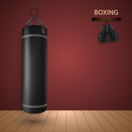 Boxing poster with gloves and punching bag template vector eps 10