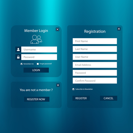 Collection login and register web screen in simple blue design vector eps 10 Illustration