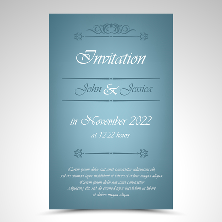 Wedding announcement in simple blue design template vector eps 10 Illustration