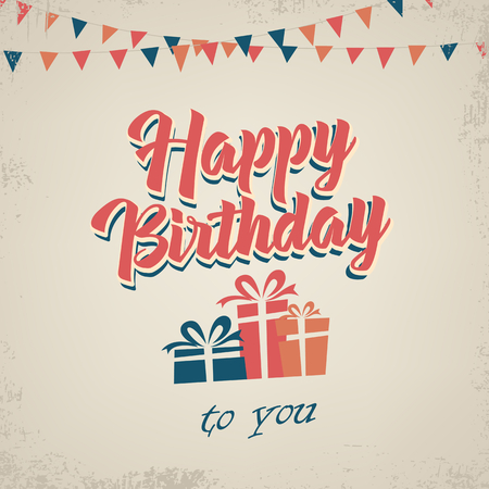 Birthday poster with gifts in retro style template vector eps 10
