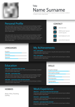 Professional personal resume cv in white black square design vector eps 10