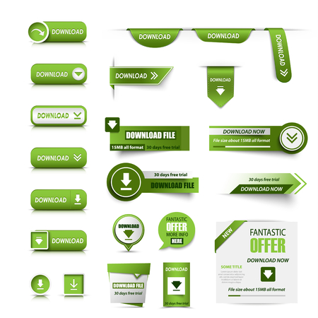 Collection of web buttons download in green design vector eps 10