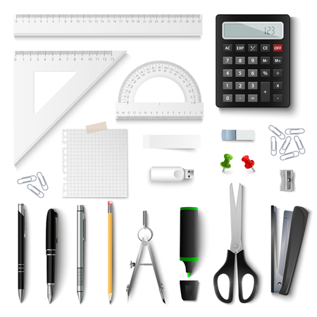 Collection of office and school supplies on white background vector eps 10   Illustration
