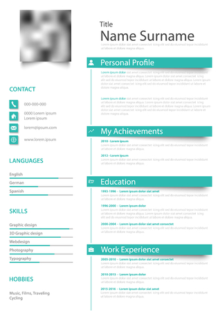 Professional personal resume cv with labels teal blue white design vector eps 10