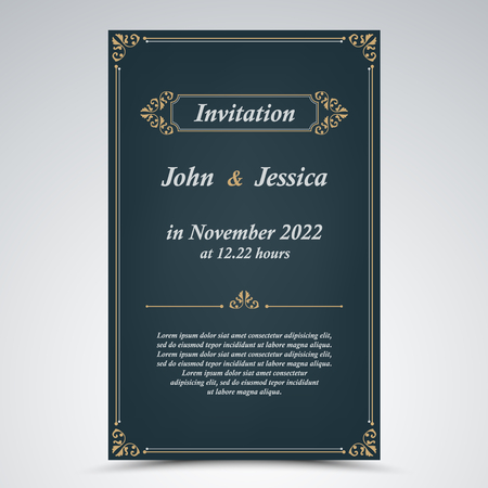 Wedding announcement with old frames in blue design vector eps 10