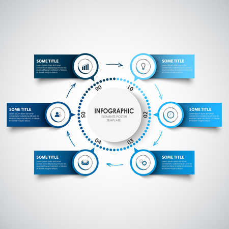 Info graphic with abstract labels and pointers in blue design vector eps 10