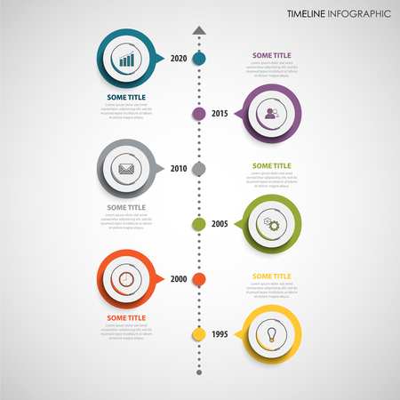 Time line info graphic with colorful round design labels vector eps 10