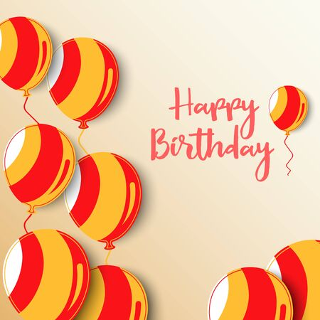 Birthday poster with balloons in red orange design vector eps 10 向量圖像