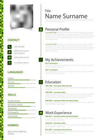 Currículum vitae personal profesional cv en verde blanco diseño simple vector eps 10