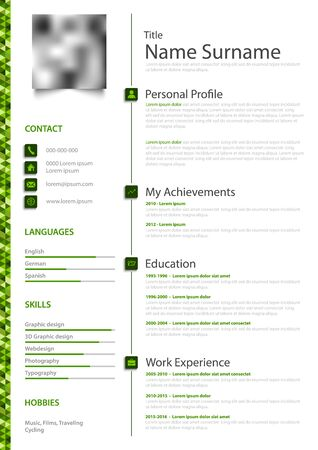 Professional personal resume cv in green white simple design vector eps 10