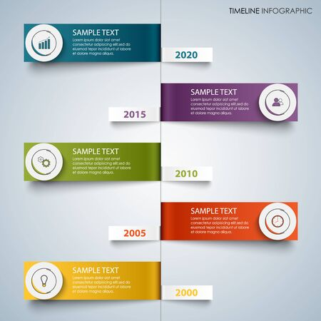 Time line info graphic with colorful bent labels template vector eps 10 Ilustração