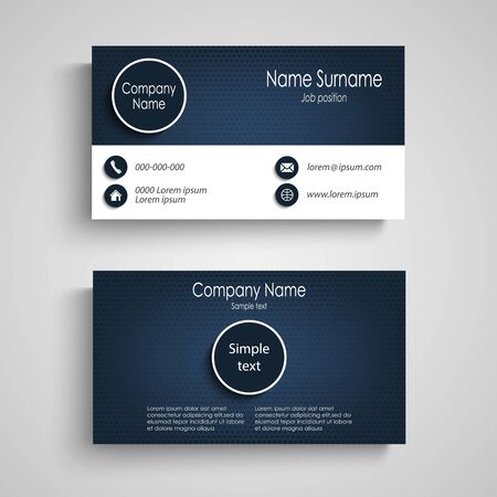 Business card in blue design with round elements vector eps 10