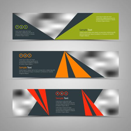 Collection banners with colorful triangles in abstract design