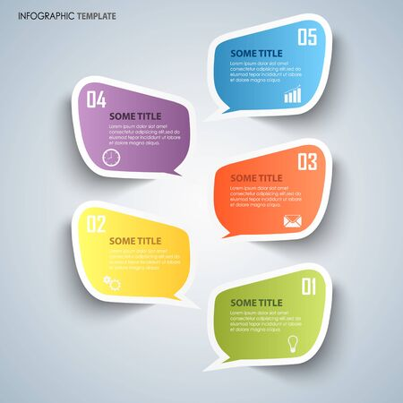 Info graphic with colorful dialog stickers template