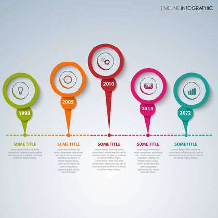Time line info graphic with colorful design element pointers